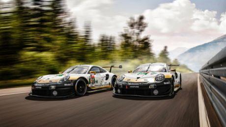 Гоночные Porsche меняют цвет в честь побед