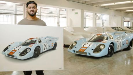 The 917 KH Gulf on the canvas: Porsche in oil