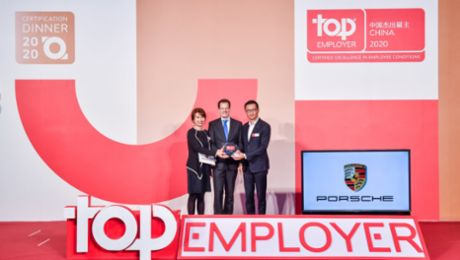 "Porsche honoured as a ""Top Employer 2020"" in China"