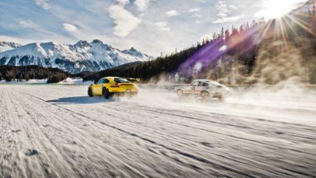 Eisballett mit zwei Porsche 911