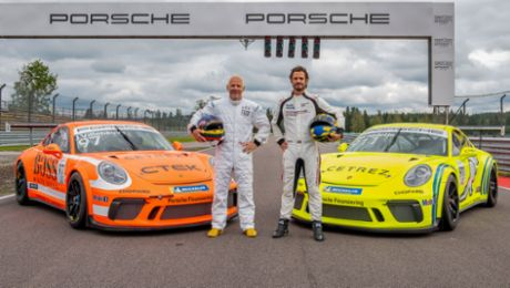 Prince Carl Philip of Sweden and Jacques Villeneuve compete in Carrera Cup