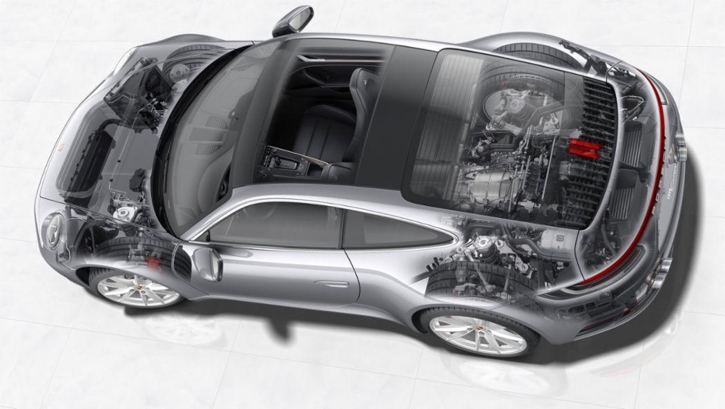 The powertrain of the new 911 Carrera, 2019, Porsche AG