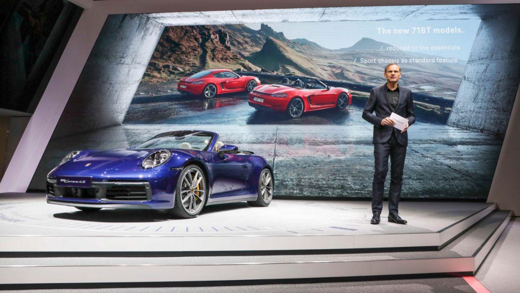 Оливер Блуме, 911 Cabriolet, Женевский автосалон, 2019, Porsche AG