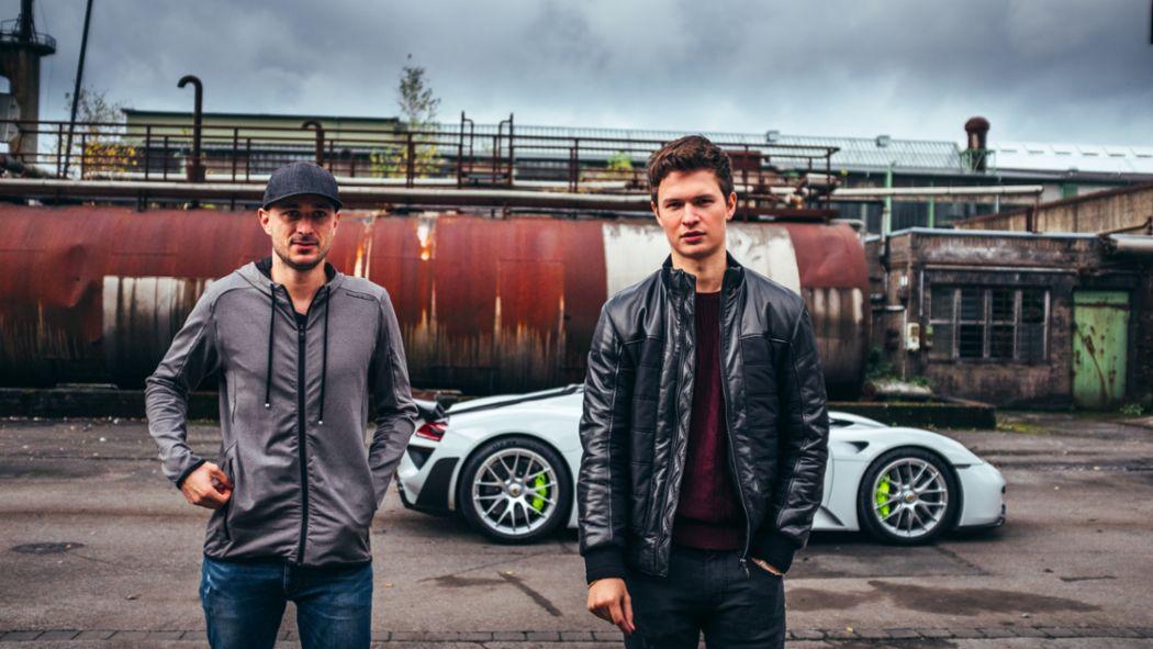 Lars Kern, Porsche test driver, Ansel Elgort, actor, l-r, 918 Spyder, Hattingen, 2018, Porsche AG