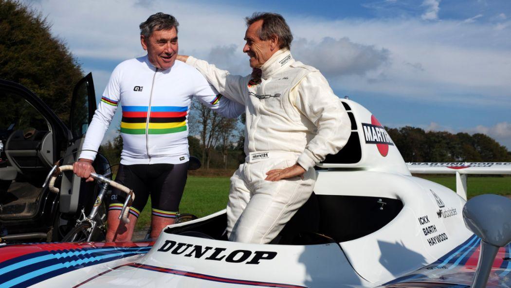 Eddy Merckx, ehemaliger Radsportprofi, Jacky Ickx, ehemaliger Porsche-Rennfahrer, 2015, Porsche AG