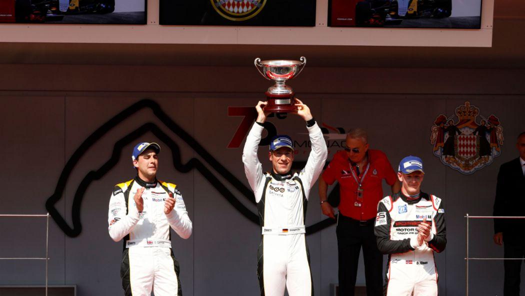 Dan Cammish (GB), Michael Ammermüller (D), Dennis Olsen (N), l-r, Porsche Mobil 1 Supercup, victory ceremony, Monaco, 2017, Porsche AG