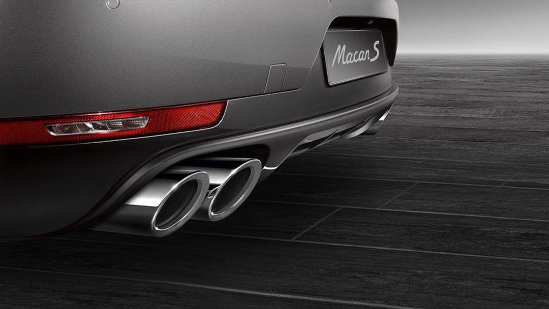 Macan S Diesel, optional sports exhaust system, silver, 2015, Porsche AG