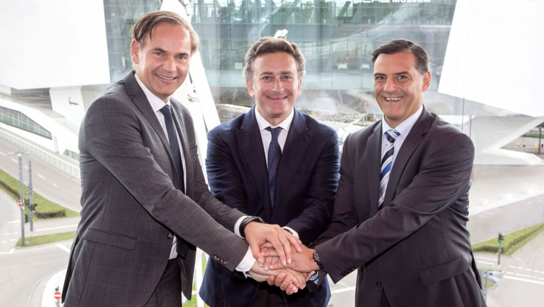 Oliver Blume, Chairman of the Executive Board of Dr. Ing. h.c. F. Porsche AG, Alejandro Agag, Founder & CEO of Formula E, Michael Steiner, Member of the Executive Board, Research and Development, l-r, Stuttgart, 2017, Porsche AG
