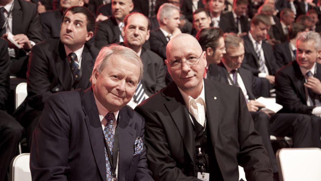 Wolfgang Porsche, Aufsichtsratsvorsitzender, Uwe Hück, Betriebsratsvorsitzender (l.-r.), 2015, Porsche AG