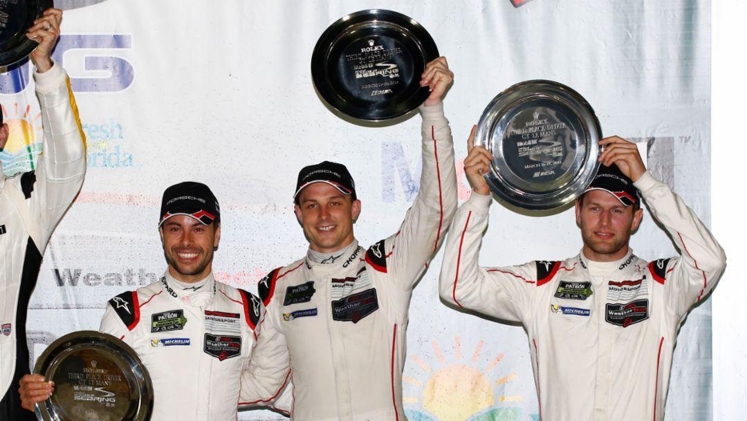 Frederic Makowiecki, Earl Bamber, Michael Christensen (l-r), Sebring, IMSA WeatherTech SportsCar Championship, 2016, Porsche AG