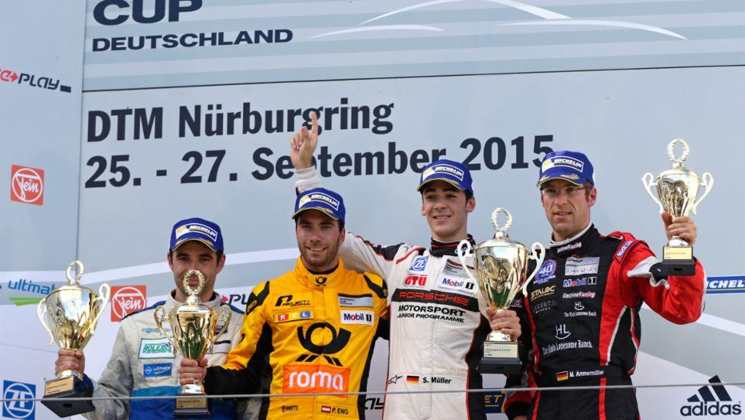 Rolf Ineichen, Philipp Eng, Sven Müller, Michael Ammermüller, l-r, Porsche Carrera Cup Deutschland, Nürburgring, 2015, Porsche AG