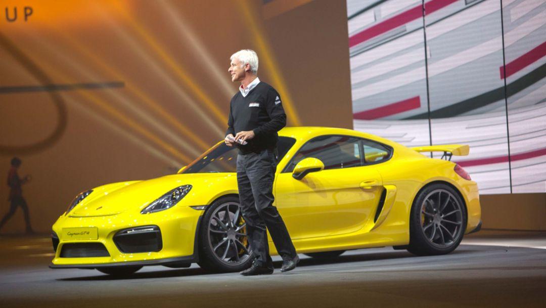 Matthias Müller, CEO, Cayman GT4, Volkswagen Group Night, Geneva International Motor Show, 2015, Porsche AG
