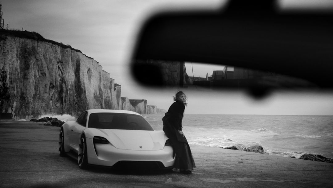 Mission E, shoot with phographer to the stars Peter Lindbergh, Porsche Talent Project, Ault, France, 2018, Porsche AG