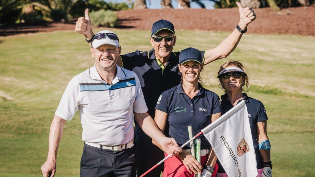 Hans-Joachim Stuck (2.f.l.), Porsche Golf Circle, Abama Golf Resort, Tenerife, 2018, Porsche AG
