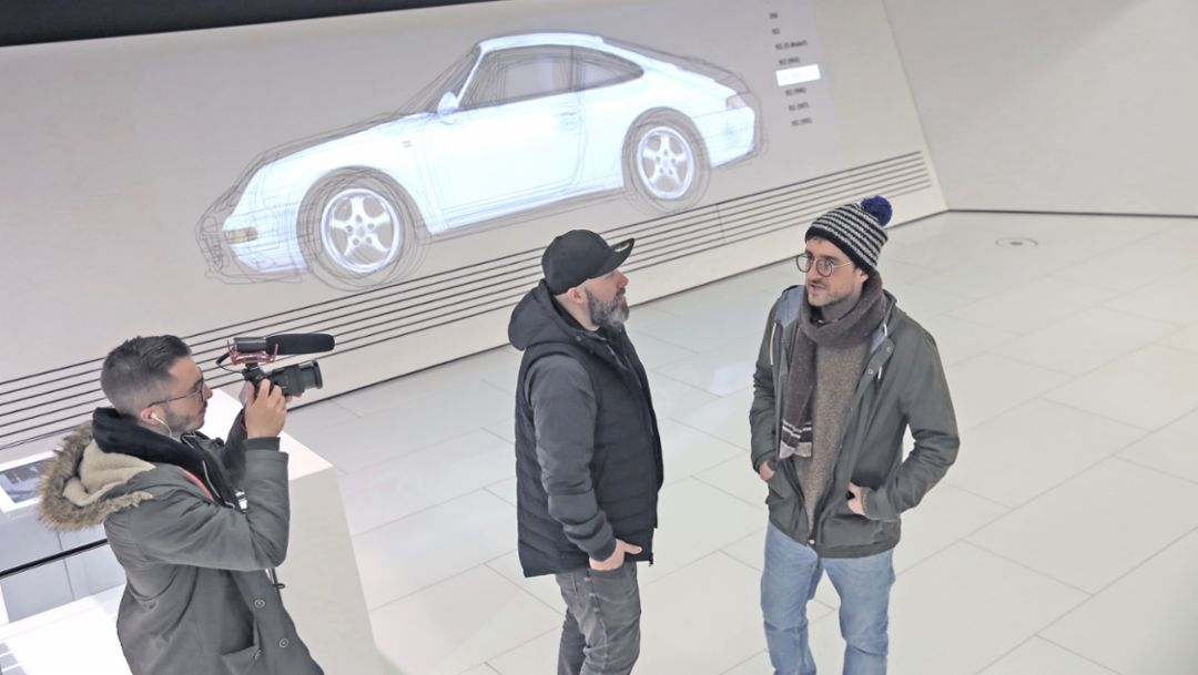 Camera man, Niko Hüls, Backspin, Duan Wasi, l-r, Back to Tape, Stuttgart, 2018, Porsche AG