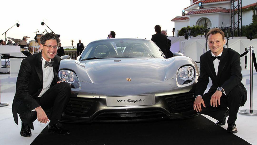Dr. Frank-Steffen Walliser, project manager, Marc Lieb, Porsche racer, Spyder, Cannes, 2014, Porsche AG
