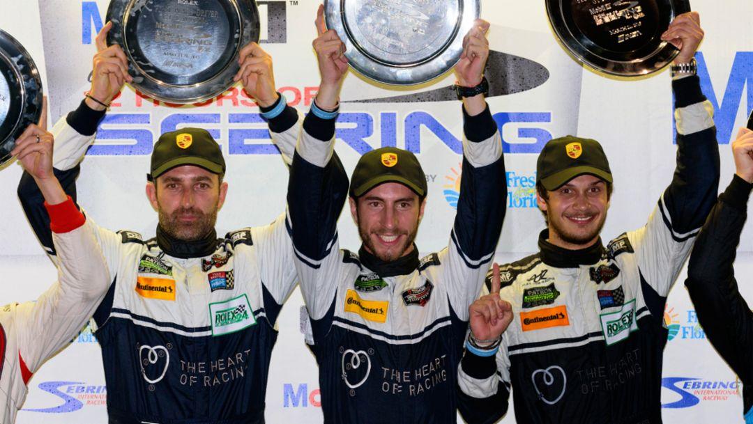 Ian James, Alex Riberas, Mario Farnbacher, Sebring 2015, Porsche AG