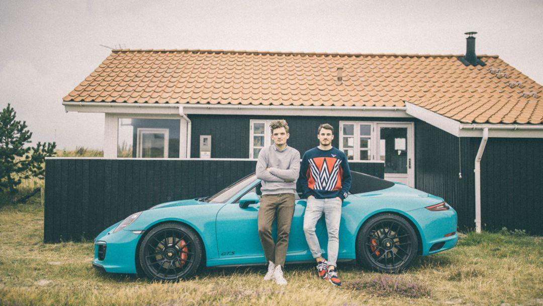 Florian Roser, Simon Roser, l-r, 911 Carrera 4 GTS Cabriolet, Roadtrip of the Roserbrothers, Denmark, 2018, Porsche AG