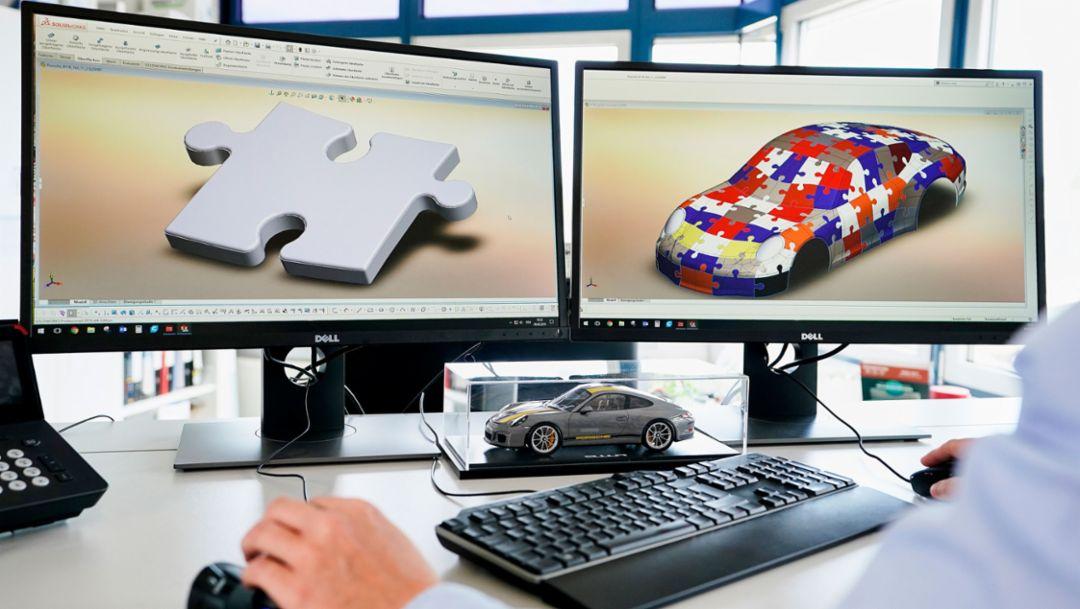 ae3e700ca 3D puzzle of the 911 R, toy manufacturer Ravensburger, 2018, Porsche AG