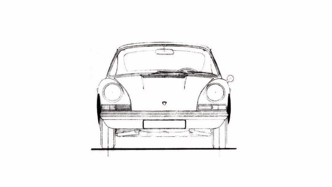 Skizze, Porsche 911, 1963, Porsche AG