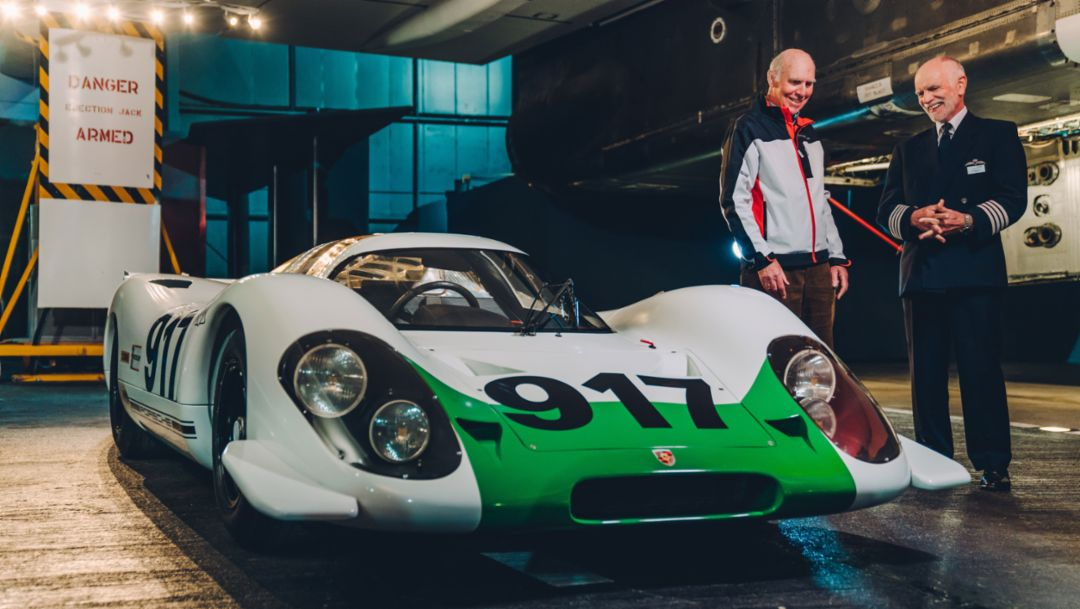 Richard Attwood, Tim Orchard, l-r, Porsche 917-001, 2019, Porsche AG