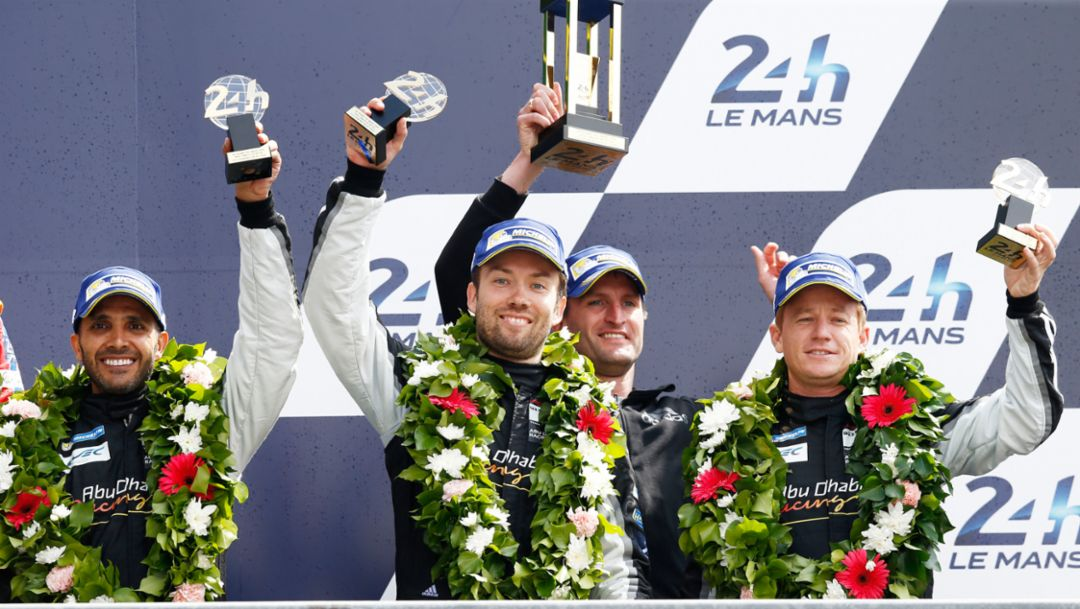 Abu Dhabi Proton Racing: Khaled Al Qubaisi, David Heinemeier Hansson, Christian Ried, Patrick Long, l-r, WEC, Le Mans, 2016, Porsche AG