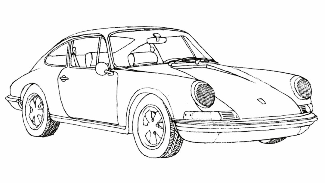 Drawing by Klaus Voormann, 2016, Porsche AG