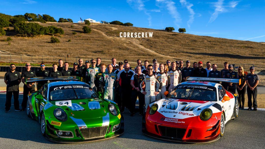 911 GT3 R, Black Swan Racing, Wright Motorsports, l-r, 4. Lauf, Laguna Seca, 2018, Porsche AG