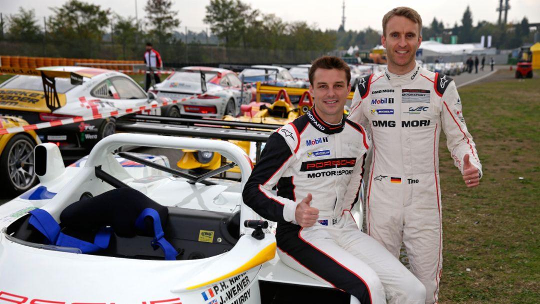 Earl Bamber, Timo Bernhard, l-r, Porsche Classic Race Cars Hockenheim, 2015, Porsche AG