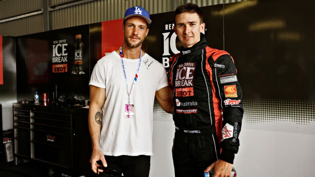 Daniel Fuchs aka Magic Fox, Blogger und Influencer, Matt Campbell, l-r, Bathurst, 2018, Porsche AG