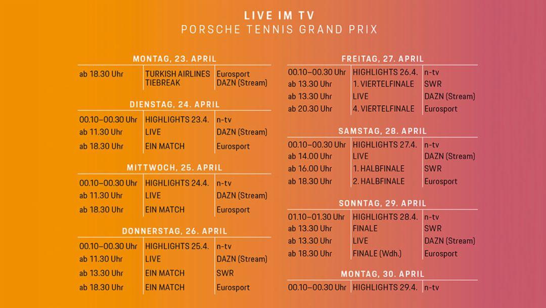 Live im TV, Porsche Tennis Grand Prix, 2018, Porsche AG