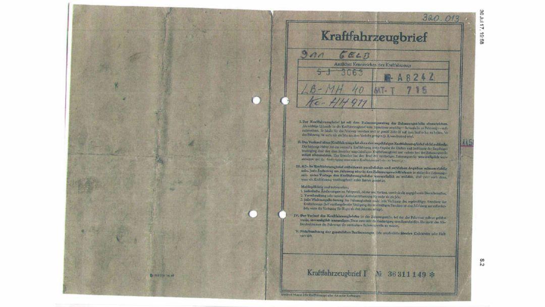 Vehicle registration document Hans Mezger, 2018 Porsche AG