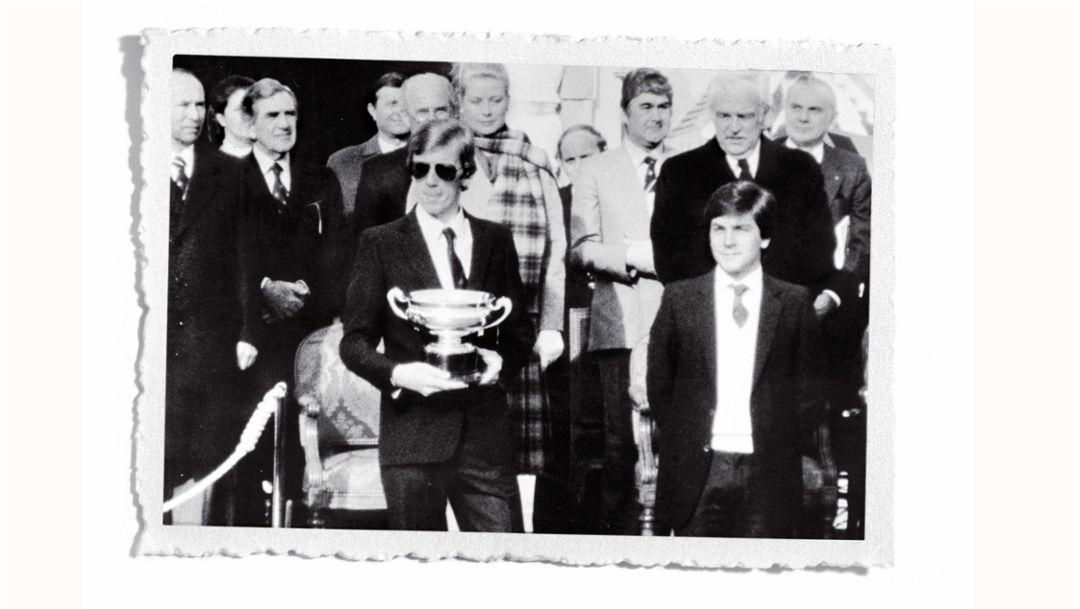 Walter Röhrl (l), Christian Geistdörfer (r), victory-ceremony in Monte-Carlo, 1980, Porsche AG