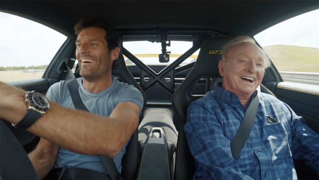 Rod Laver and Mark Webber driving the 911 GT3 RS