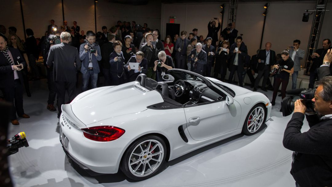 Boxster Spyder, Weltpremiere, New York International Auto Show, 2015, Porsche AG