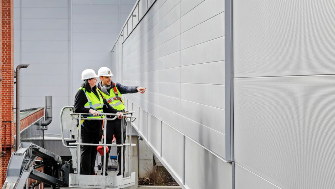 Facade of the new Taycan factory, 2019, Porsche AG