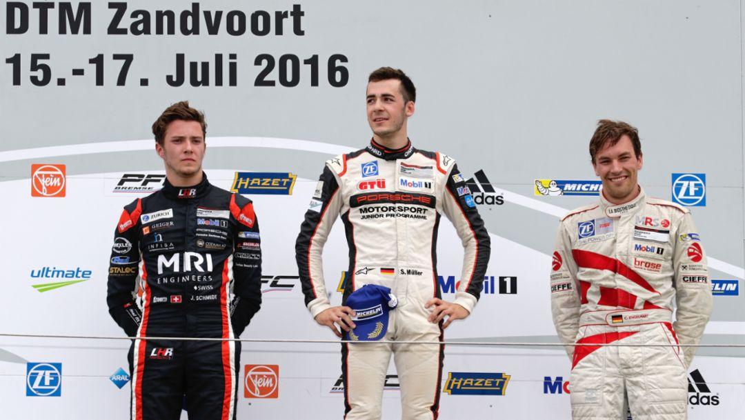 Jeffrey Schmidt, Sven Müller, Christian Engelhart (l-r), Porsche Carrera Cup Deutschland, Zanvoort, 2016, Porsche AG