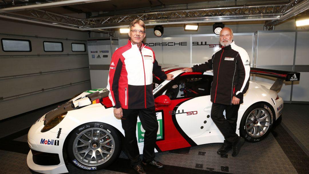 Hartmut Kristen, Head Porsche motorsports (l.), Olaf Manthey, Team principal Porsche Team Manthey, 2014, Porsche AG