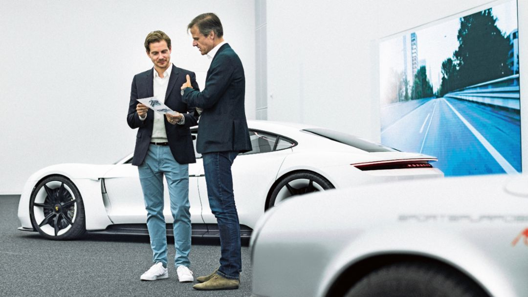 Ivo van Hulten, head of interior design, Michael Maurer, Chief Designer, l-r, design center Weissach, 2017, Porsche AG