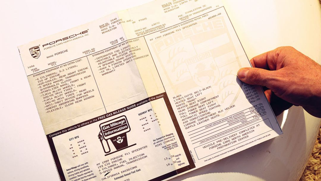 Vehicle document of the 911 Speedster, 2016, Porsche AG