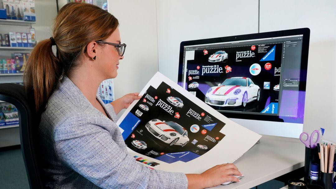 3D puzzle of the 911 R, toy manufacturer Ravensburger, 2018, Porsche AG