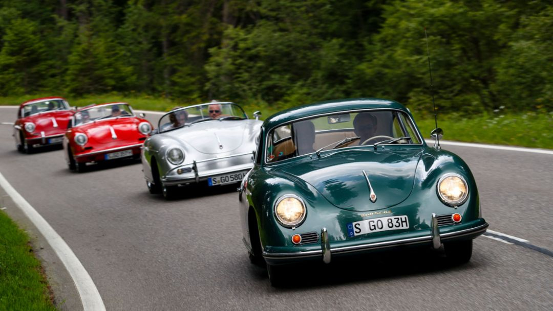 356 B 1600 Super 90 Coupé, 356 B 2000 GS Carrera 2 Cabriolet, 356 A 1600 S Speedster, 356 A 1600 S Coupé, Switzerland, 2018, Porsche AG