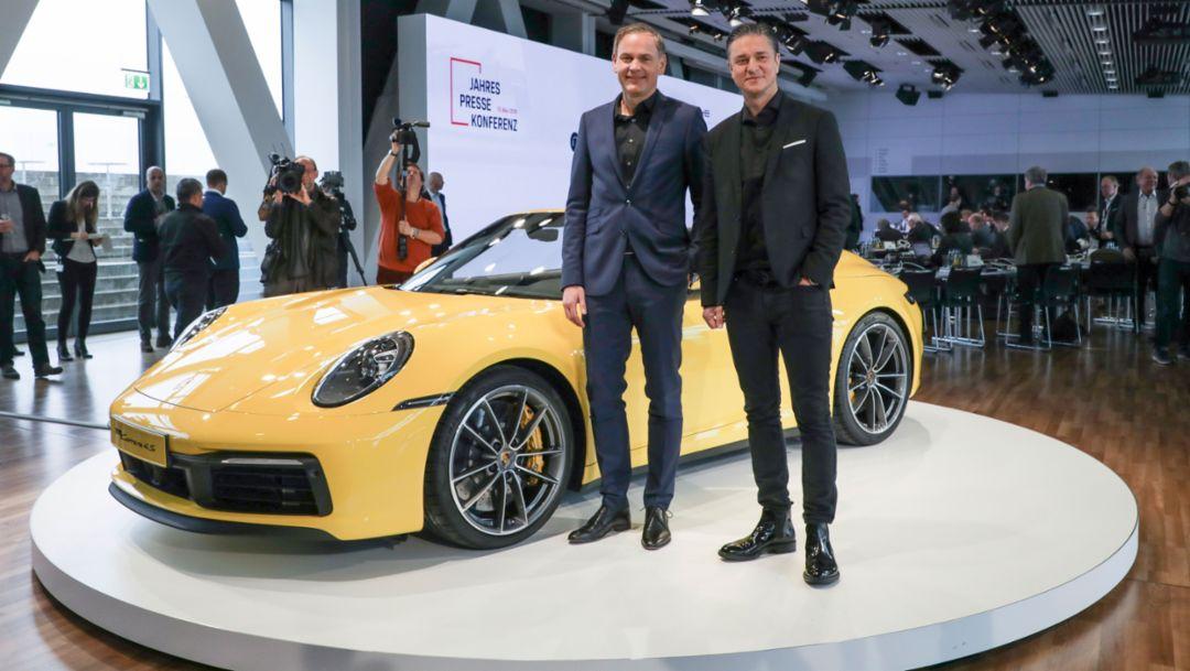Oliver Blume, Lutz Meschke, l-r, Annual Press Conference, Zuffenhausen, 2019, Porsche AG