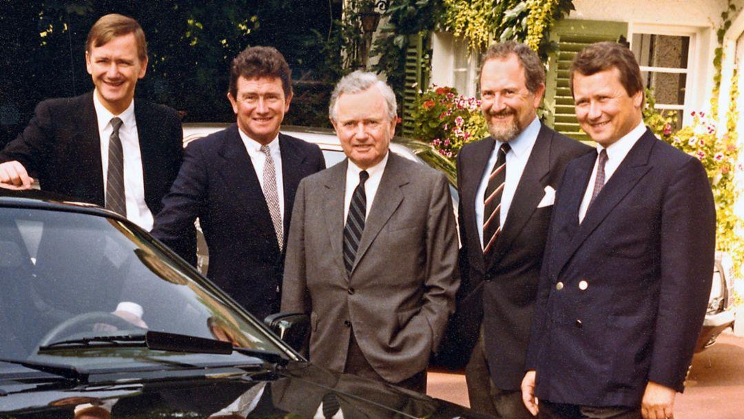 Hans-Peter Porsche, Gerhard Porsche, Ferry Porsche, Ferdinand Alexander Porsche, Dr. Wolfgang Porsche, l-r, Stuttgart, 1984, Porsche AG