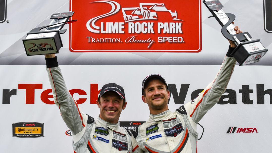 Patrick Pilet, Dirk Werner, l-r, IMSA WeatherTech Sportscar Championship, Lime Rock, USA, 2017, Porsche AG
