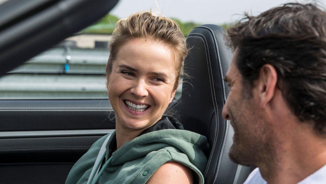 Elina Svitolina, professional tennis player, Mark Webber, Porsche Brand Ambassador, 911 Carrera 4S Cabriolet, Weissach, 2019, Porsche AG