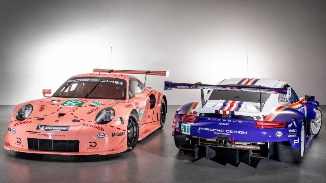 两台保时捷 911 RSR 着经典涂装征战勒芒 24 小时耐力赛