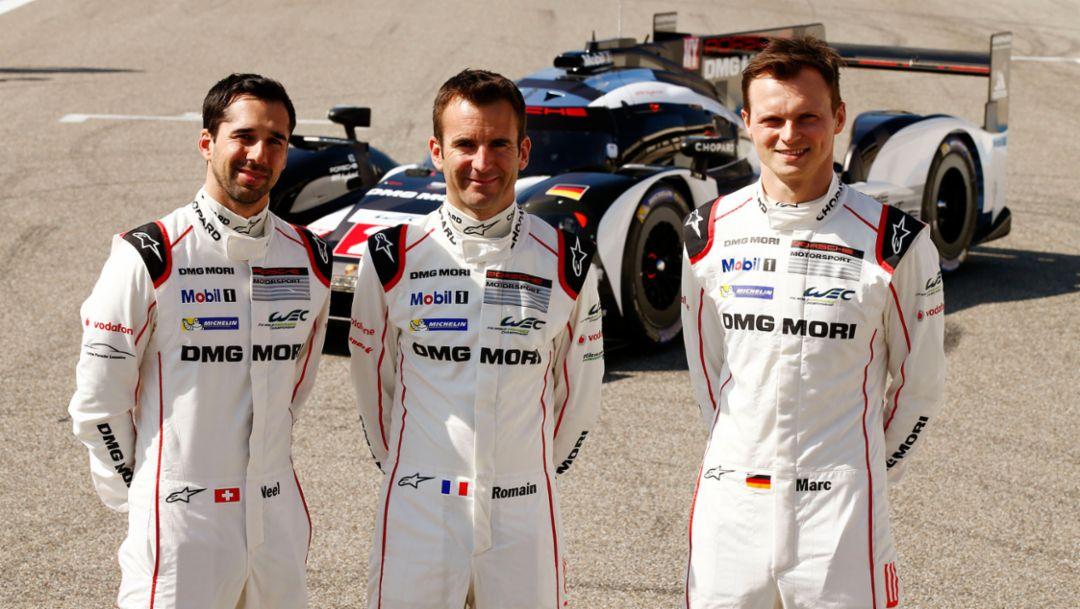 Neel Jani, Romain Dumas, Marc Lieb, l-r, 919 Hybrid, Paul Ricard, WEC, 2016, Porsche AG