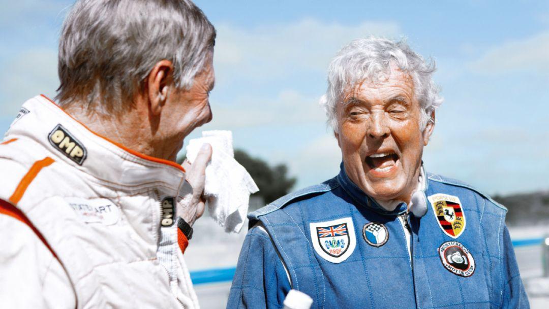 Gijs van Lennep, Brian Redman, l-r, Rennsport Reunion, Laguna Seca, 2015, Porsche AG