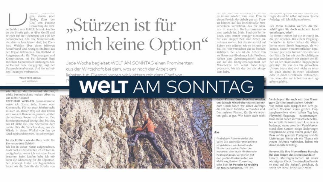 Porsche Consulting Chef Eberhard Weiblen im Interview mit Welt am Sonntag, 2019, Porsche Consulting GmbH